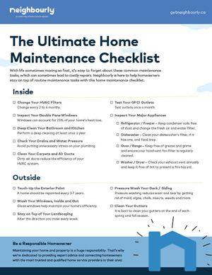 Home Owner Checklist
